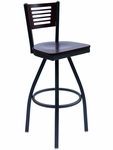 Espy Metal Frame Swivel Barstool - Slotted Wood Back and Wood Seat [2151SW-SB-BFMS]