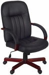 Ethos Height Adjustable Swivel Chair - Black Leather with Mahogany Accents [1050MH-FS-REG]