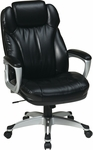 Work Smart Executive Bonded Leather Chair with Padded Arms and Built-in Adjustable Headrest - Black [ECH85806-EC3-FS-OS]