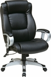 Work Smart Executive Eco Leather Chair with Height Adjustable Padded Arms and Coated Base - Black [ECH52666-EC3-FS-OS]