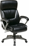 Work Smart ECH89307 Executive Eco Leather Chair with Padded Arms and Titanium Coated Base - Black [ECH89307-EC3-FS-OS]