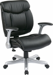 Work Smart Executive Eco Leather Chair with Padded Arms and Silver Coated Base - Black [ECH8967R5-EC3-FS-OS]