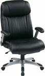 Work Smart Executive High Back Eco Leather Chair with Silver Coated Base - Black [ECH38665A-EC3-FS-OS]