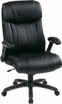 Work Smart Executive High Back Eco Leather Chair with Titanium Coated Base - Black [ECH38675A-EC3-FS-OS]