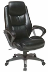 Work Smart Executive Eco Leather Chair with Padded Arms and Titanium Coated Base - Black [ECH89187-EC3-FS-OS]