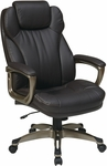 Work Smart Executive Bonded Leather Chair with Padded Arms and Built-in Adjustable Headrest - Espresso [ECH85801-EC1-FS-OS]