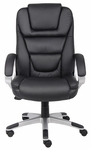 High Back Executive LeatherPLUS Chair with Padded Arms - Black [B8601-FS-BOSS]