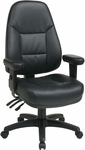 Work Smart Executive High Back Dual Function Ergonomic Office Chair with Height Adjustable Padded Arms - Black [EC4300-EC3-FS-OS]