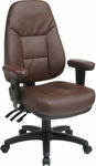 Work Smart Executive High Back Dual Function Ergonomic Office Chair with Height Adjustable Padded Arms - Burgundy [EC4300-EC4-FS-OS]