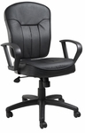 Mid Back Executive Leather Task Office Chair with Loop Arms - Black [B1562-FS-BOSS]