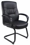Executive LeatherPLUS Guest Chair with Padded Armrests and Cantilever Base - Black [B7519-FS-BOSS]