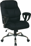 Work Smart Executive Mesh Big Man's Chair with 350 lb Weight Capacity and Adjustable Padded Arms - Black [EX1098-3M-FS-OS]