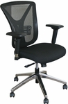 Fermata Executive Mesh Chair with Aluminum Base - Black Fabric [WMCEXBA-FS-MVL]