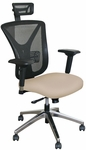 Fermata Executive Mesh Chair with Aluminum Base and Headrest - Flax Fabric [WMCEXFA-H-5821-FS-MVL]