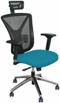 Fermata Executive Mesh Chair with Aluminum Base and Headrest - Teal Fabric [WMCEXFA-H-F6553-FS-MVL]