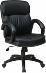 Work Smart Executive Mid Back Eco Leather Chair with Padded Arms and Casters - Black [EC9231-EC3-FS-OS]