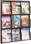 Expose™ Nine Magazine Eighteen Pamphlet Display with Plastic Front Panel - Mahogany [5702MH-FS-SAF]