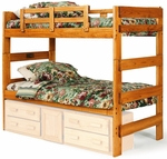 Rustic Style Solid Pine Bunk Bed - Extra Long Twin - Honey [3662001-ET-FS-CHEL]