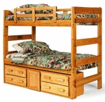 Rustic Style Solid Pine Bunk Bed with Storage - Extra Long Twin - Honey [3662001-1305-FS-CHEL]