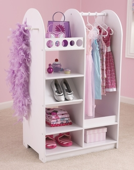 kids size play dress up fashion station with mirror and storage options white 12511 by. Black Bedroom Furniture Sets. Home Design Ideas