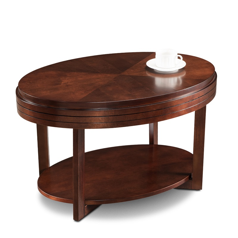 Favorite Finds 33 39 39 W X 19 39 39 H Oval Wood Space Saving Coffee Table With Display Shelf Chocolate
