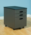 Mobile 15.75''W 22''D Locking 3 Drawer File Cabinet - Pewter and Black [51101-FS-SDI]