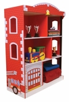 Firefighter Series Wooden Firehouse 38''H Bookcase with Six Storage Compartments [76026-FS-KK]