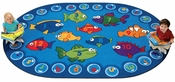 Fishing for Literacy ABC's and 123's Oval Nylon Rug - 46''W x 65''D