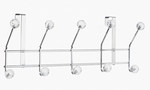 Five Hook Over The Door in Clear Acrylic Jewel and Chrome [OTD-3808-FS-EHF]