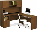Flame L-Shaped Workstation with 1 Utility Drawer and 1 File Drawer - Cognac Cherry [90425-76-FS-BS]