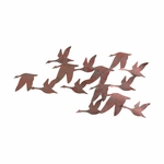 Flock of Geese 3D Oxidized Brushed Copper Finish Metal 36.25''W x 27.25''H Wall Art [GA1932R-FS-SENT]