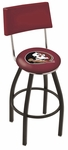 Florida State University 25'' Black Wrinkle Finish Swivel Counter Height Stool with Cushioned Back [L8B425FSU-HD-FS-HOB]