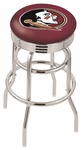 Florida State University 25'' Chrome Finish Double Ring Swivel Backless Counter Height Stool with Ribbed Accent Ring [L7C3C25FSU-HD-FS-HOB]