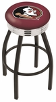Florida State University 25'' Black Wrinkle Finish Swivel Backless Counter Height Stool with Ribbed Accent Ring [L8B3C25FSU-HD-FS-HOB]