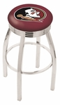 Florida State University 25'' Chrome Finish Swivel Backless Counter Height Stool with 2.5'' Ribbed Accent Ring [L8C3C25FSU-HD-FS-HOB]