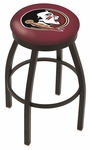 Florida State University 25'' Black Wrinkle Finish Swivel Backless Counter Height Stool with Accent Ring [L8B2B25FSU-HD-FS-HOB]