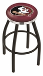Florida State University 25'' Black Wrinkle Finish Swivel Backless Counter Height Stool with Chrome Accent Ring [L8B2C25FSU-HD-FS-HOB]
