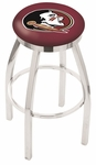 Florida State University 25'' Chrome Finish Swivel Backless Counter Height Stool with Accent Ring [L8C2C25FSU-HD-FS-HOB]