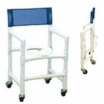 Foldable Shower Chair with Closed Front Seat and Casters - 20''W X 19''D X 37''H [116-3TW-FD-MJM]