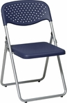 Work Smart Folding Chair with Ventilated Plastic Seat and Back - Set of 4 - Blue with Silver Frame [FC8000NS-7-OS]