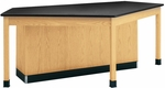 Forward Vision I Wooden Workstation with 1'' Thick Black Epoxy Resin Top - 96''W x 50''D x 36''H [2946KF-DW]