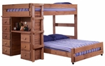 Rustic Style Solid Pine Loft Bed with Desk and 5 Drawer Storage Chest - Full - Mahogany Stain [315005-FS-CHEL]