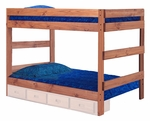 Rustic Style Solid Pine 1 Piece Bunk Bed - Full - Mahogany Stain [312010-411-FS-CHEL]