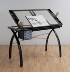Futura Clear Tempered Glass and Steel Craft Station with Adjustable Angle Top - Black [10072-FS-SDI]
