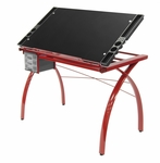 Futura Clear Tempered Glass and Steel Craft Station with Adjustable Angle Top - Red [10076-FS-SDI]
