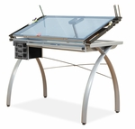 Futura Blue Tempered Glass and Steel Craft Station with Adjustable Angle Top - Silver [10050-FS-SDI]