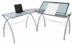 Futura Blue Tempered Glass and Steel Space Saving L Shaped Workcenter - Silver [50306-FS-SDI]