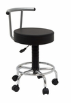 Futura Height Adjustable Studio Stool with Footring and 5 Casters - Black [13181-FS-SDI]