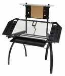 Futura Clear Tempered Glass and Steel Tower Craft Station with Adjustable Angle Work Top - Silver [10067-FS-SDI]