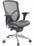 Fuzion Luxury 26'' W x 27.5'' D x 40'' H Adjustable Height Mid Back Task Chair - Black Mesh [FUZ8LX-LO-W09-1-FS-EURO]